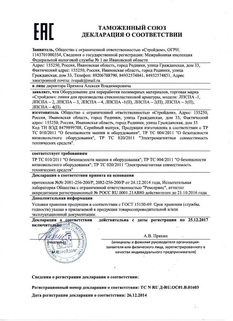 Декларация о соответствии TC N RU Д-RU.OC01.B.01603